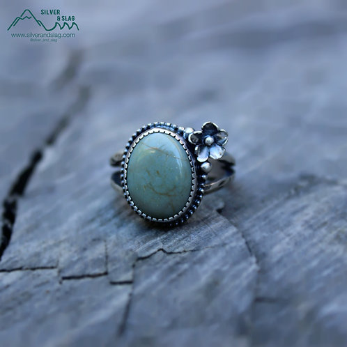 CA Blue Jade set in Sterling Silver California Superbloom Ring - Size 9