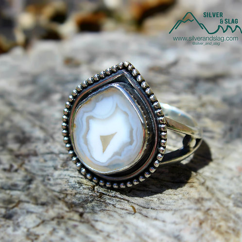Malibu Agate set in Sterling Silver Ring - Size 7       | Silver & Slag |