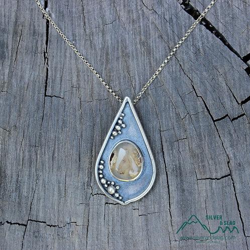California Forest Inspired Scene w Mojave Desert Agate Sterling Silver Necklace