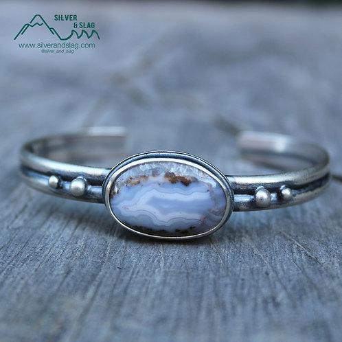 Sterling Silver Statement Cuff Bracelet w Mojave Desert Seam Agate