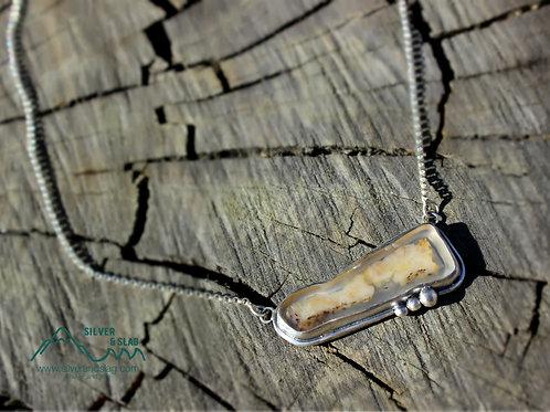 Malibu Agate set in Sterling Silver Adjustable Necklace     | Silver & Slag |