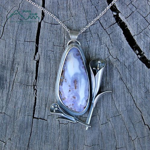 Sterling Silver California Wildflowers w Purple Mojave Desert Agate Necklace