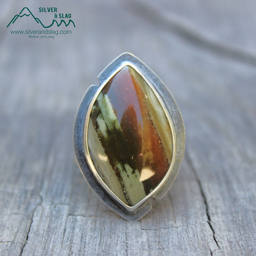 California Petrified Wood in Sterling Silver Statement Ring - Size 7