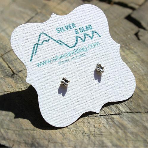 Sterling Silver Cluster Minimalist Small Stud Earrings