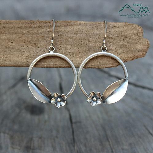 Sterling Silver California Wildflower Dangle Hoop Earrings