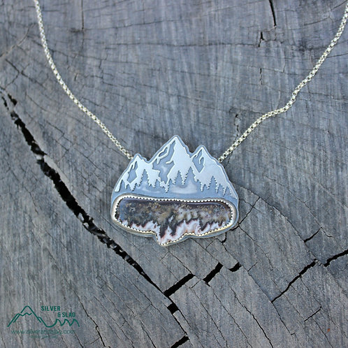 Eastern Sierra Mountain Scene w Mojave Flame Agate Sterling Silver Necklace