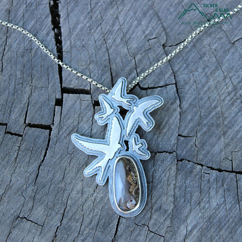 Soaring Swallows with Amazing Mojave Desert Agate Sterling Silver Necklace