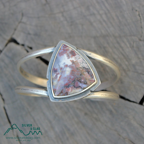 Gorgeous Pink Mojave Desert Agate set in Sterling Silver Statement Cuff Bracelet