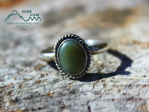 California Jade set in Sterling Silver Ring - Size 7.5         | Silver & Slag |