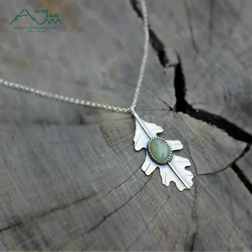 Sterling Silver California Valley Oak Leaf with California Blue Jade Necklace