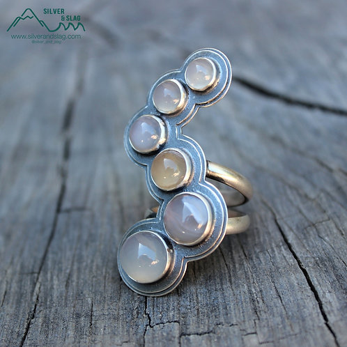 Malibu Agate & Chalcedony set in Sterling Silver Statement Ring - Size 7