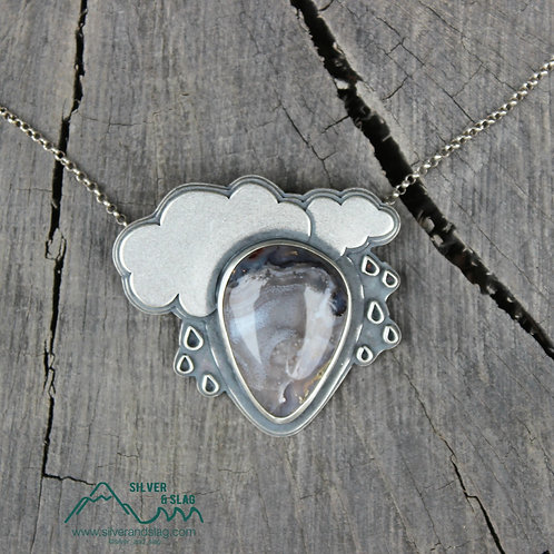 Rainy Day with Amazing Mojave Desert Agate Sterling Silver Necklace