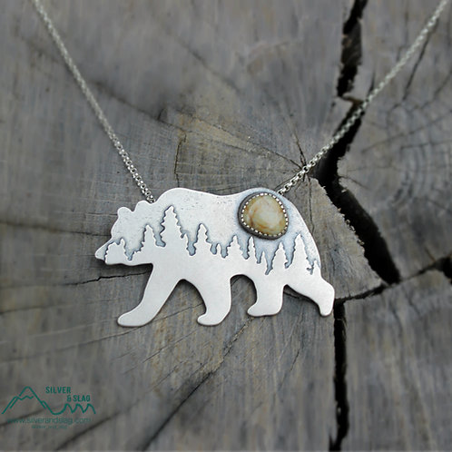 Mammoth Black Bear California Jasper Sterling Silver Necklace  | Silver & Slag |