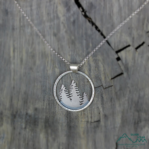 Sterling Silver California Forest Silhouette Necklace         | Silver & Slag |