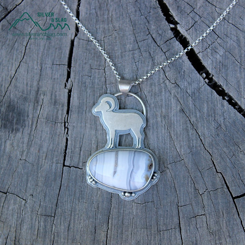 Mojave Bighorn Sheep w Mojave Desert Banded Agate Sterling Silver Necklace