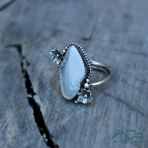 Malibu Banded Agate set in Sterling Silver California Superbloom Ring -Size 6.25