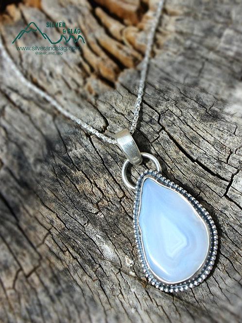 Malibu Agate Slice set in Sterling Silver Necklace        | Silver & Slag |