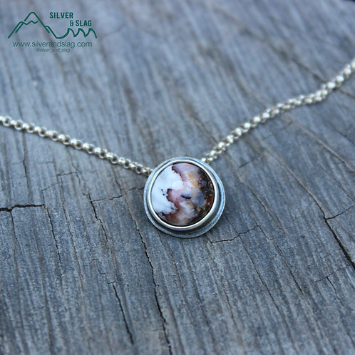 Mojave Desert Flame Agate set in Sterling Silver Minimalist Necklace