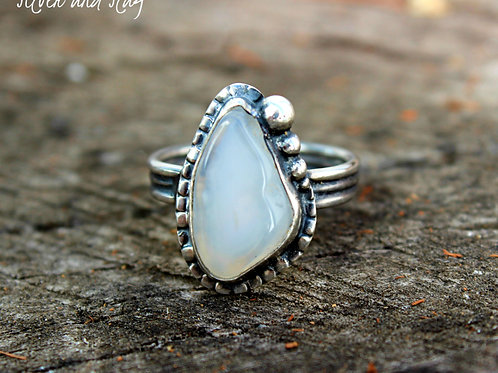 Malibu Beach Agate with Crystal Druzy set in Sterling Silver Ring - Size 7.25