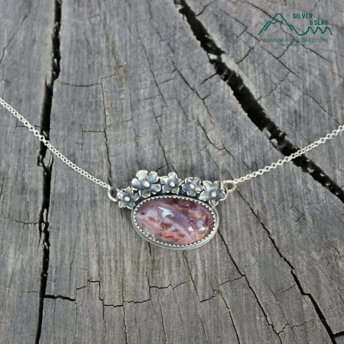 Sterling Silver California Wildflowers with Mojave Desert Agate Necklace