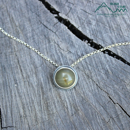 Central California Coast Jade set in Sterling Silver Minimalist Necklace