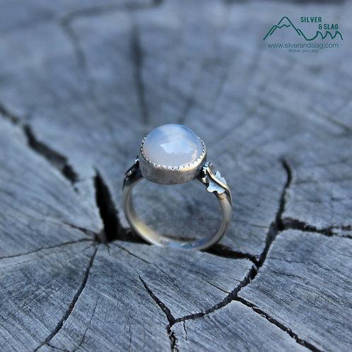Malibu Chalcedony set in Sterling Silver California Oak Leaf Ring - Size 7