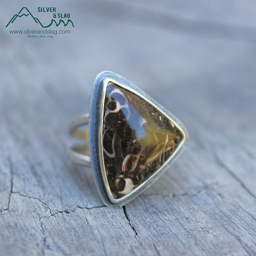 California Marine Fossils in Sterling Silver Statement Ring - Size 5.5