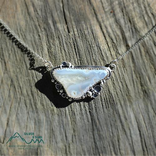 Malibu Banded Agate set in Sterling Silver Necklace         | Silver & Slag |