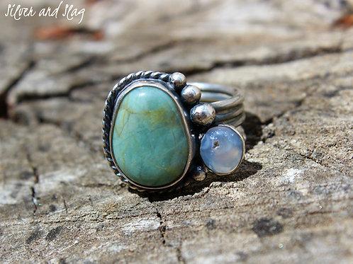 Ocean Inspired Jasper & Agate set in Sterling Silver Ring - Size 7