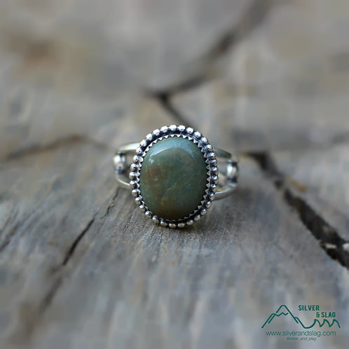California Blue Jade set in Sterling Silver Ring - Size 7.5   | Silver & Slag |