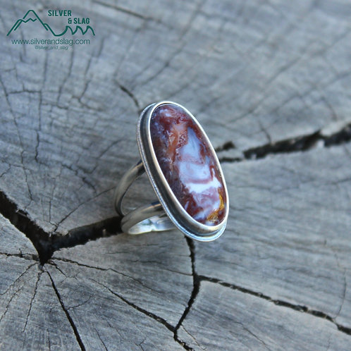 Mojave Desert Red Agate set in Sterling Silver Statement Ring - Size 6.5