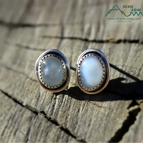 Malibu Raw Agates set in Sterling Silver Stud Earrings     | Silver & Slag |
