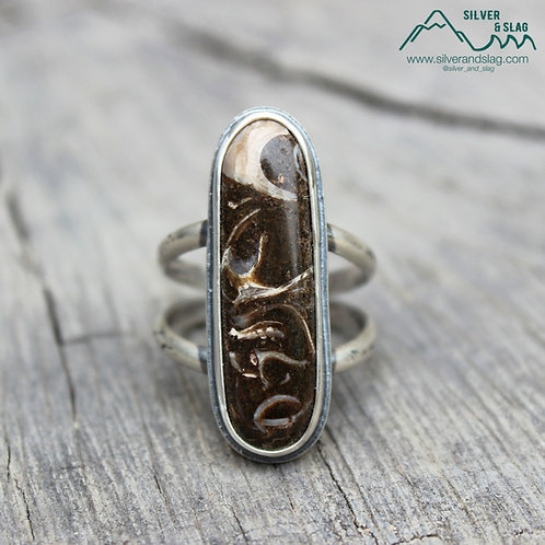 California Marine Fossils set in Sterling Silver Statement Ring - Size 9.5