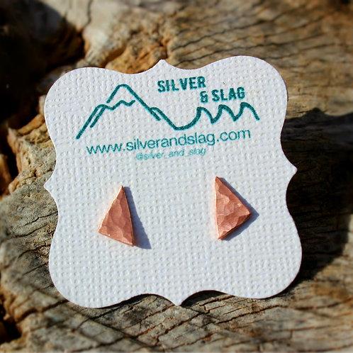 Copper & Sterling Silver Triangle Stud Earrings     | Silver & Slag |
