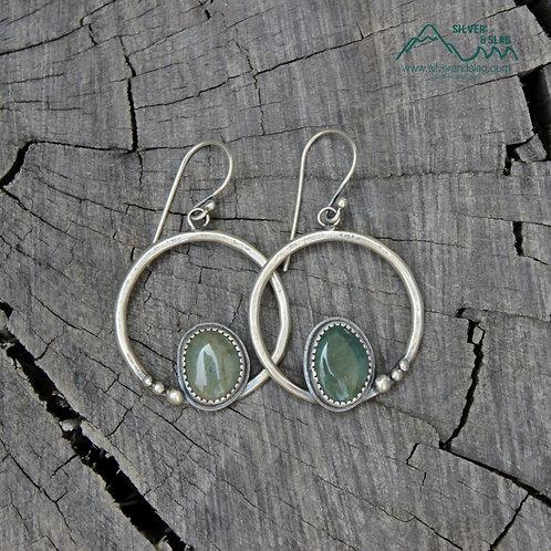 Central California Coast Jasper Sterling Silver Dangle Hoop Earrings