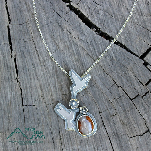 Hummingbirds Feeding with Amazing  Mojave Desert Agate Sterling Silver Necklace