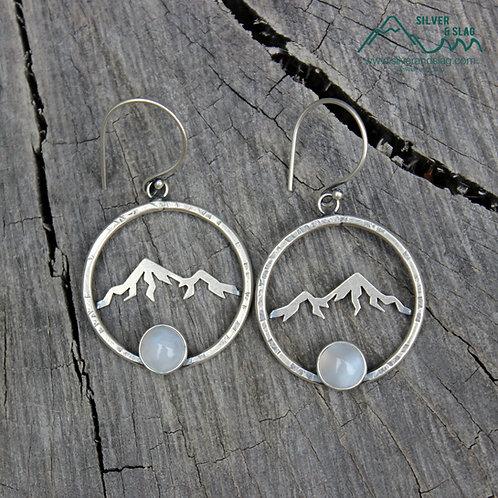 Sterling Silver Eastern Sierra Mountains Dangle Hoop Earrings with Malibu Agates