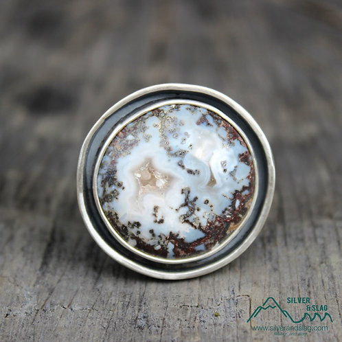 Mojave Desert Agate in Sterling Silver Circle Statement Ring - Size 8
