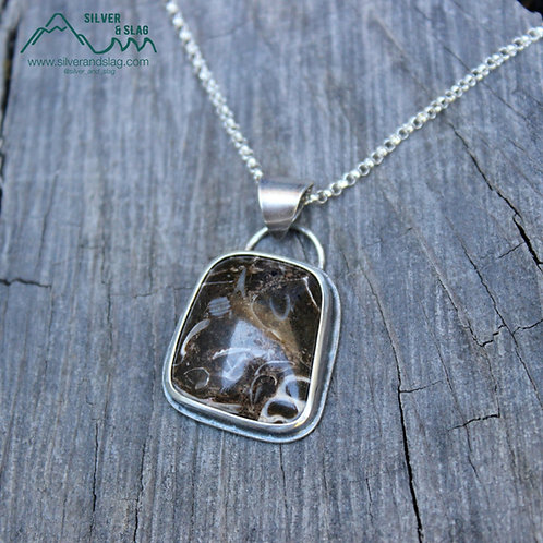 California Marine Fossils set in Sterling Silver Statement Necklace