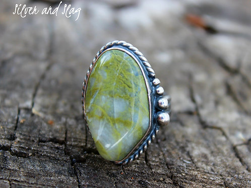 Ocean Inspired Malibu Moss Agate set in Sterling Silver Ring - Size 5