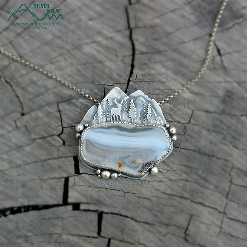 Mountain Forest Deer Scene with Malibu Agate Sterling Silver Necklace