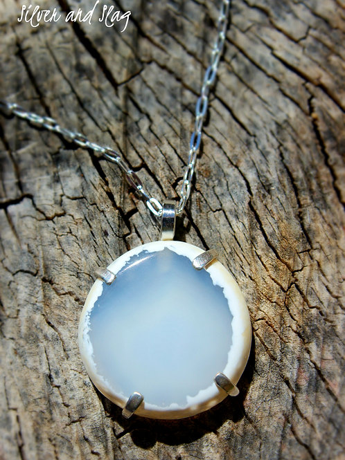 Malibu Agate Slice Prong set in Sterling Silver Necklace     | Silver & Slag |