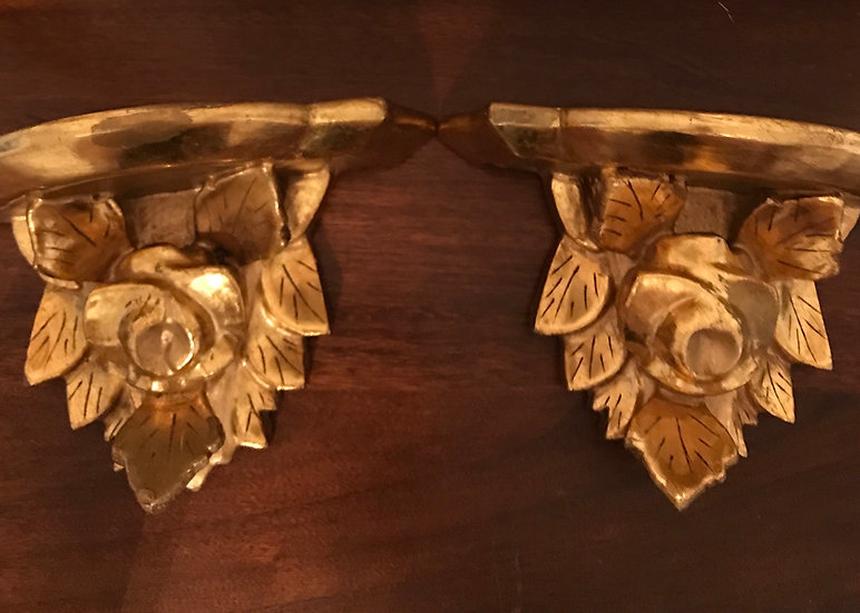 Gilt Wood Carved Rose & Leaves Wall Shelf, pair