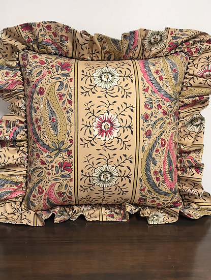 "Medium Tan Paisley Pillow (15"")"