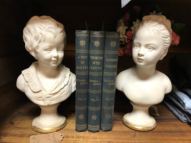 """Boy & Girl Busts, approx 8"""" tall"""