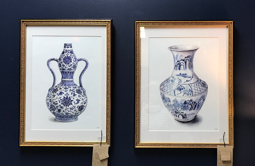 Chinoiserie Handled Jar & Vase, Framed Prints by Julie Suh