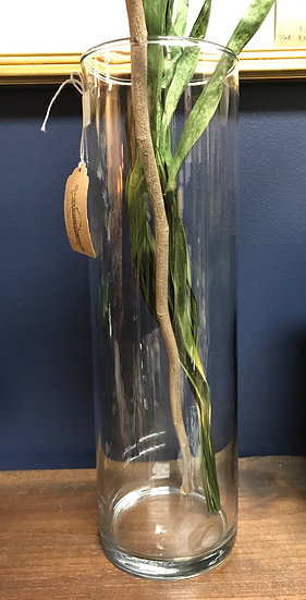"""Glass vase, 13"""" tall & 4"""" wide"""