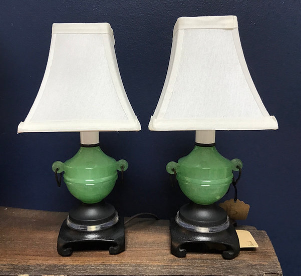 "Jadeite Lamps on Ebony Pedestals, Pair, 10.25"""