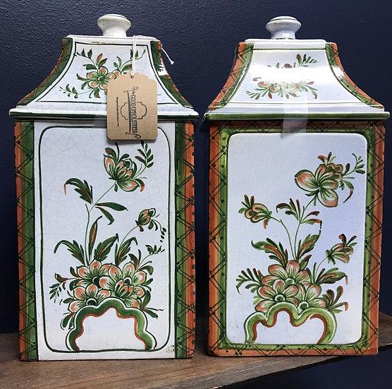 "Italian Meiselman canisters, pair, 11 1/2"" tall"