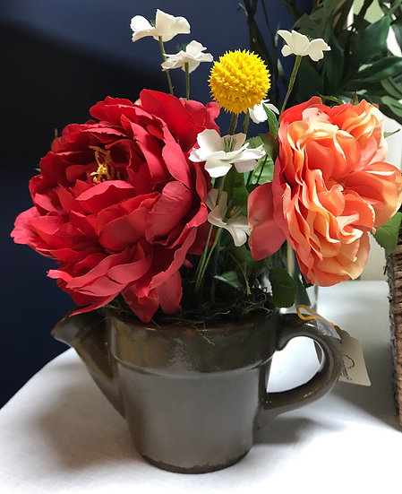 """Colorful Florals in Brown Pottery Watering Can, 12"""" tall"""